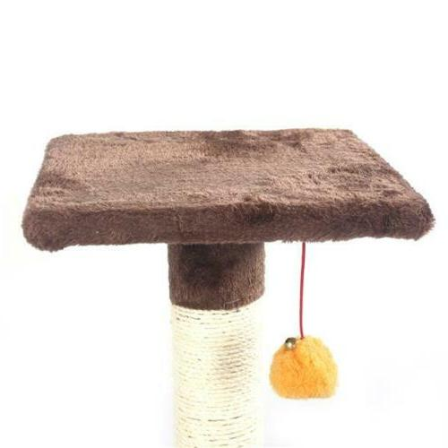 """48"""" Brown Pet Tree Play Condo Bed Scratch Toy Balls"""