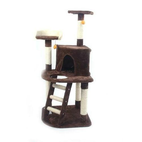48 brown pet cat tree play house