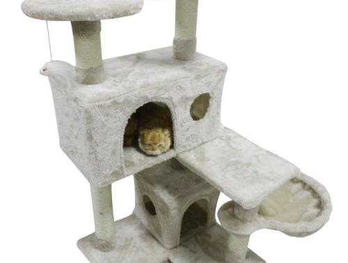 51 Tree Sisal Scratcher Pet House,White