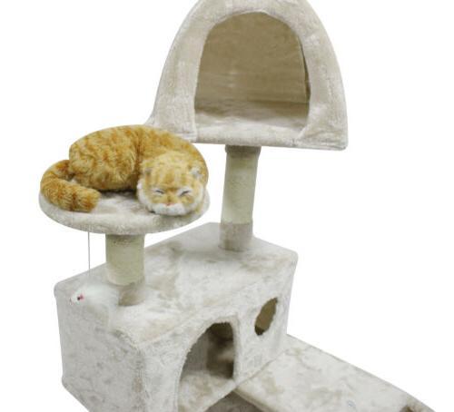 51 inch Tree Sisal Scratcher Pet House,White