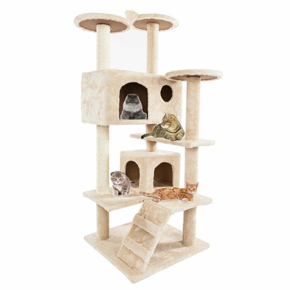 """52"""" Solid Cute Sisal Rope Plush Cat Climb Tree Cat Tower Bei"""