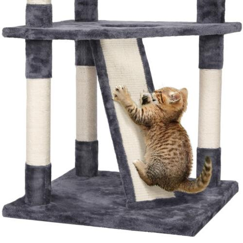 """79"""" Large Cat Tree Tower Pet House(Gray White)"""