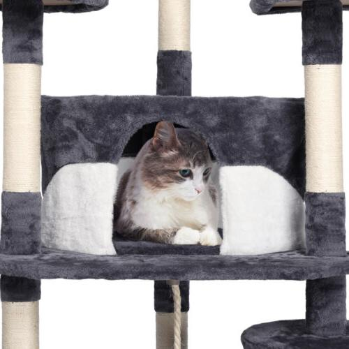 """79"""" Tower Scratching Pet House(Gray and White)"""