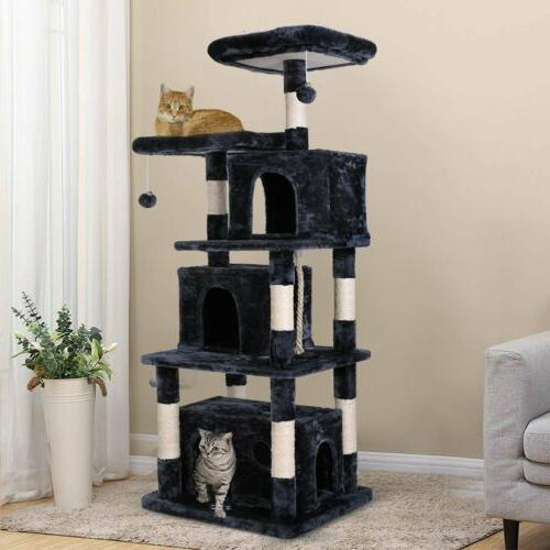 67'' Cat Tree Plush Perch Kitten Condo Ball Stand Play Toy