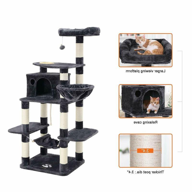 Feandrea 68.5 Inches Sturdy Cat Tree Feeding Bowl, Cat Condos With Sisal Po