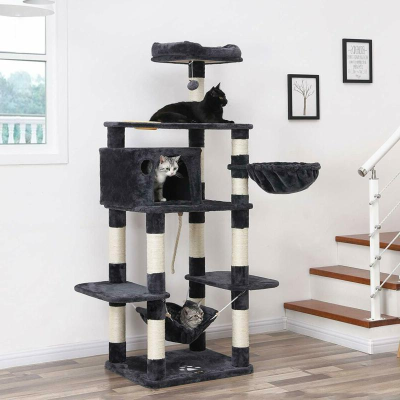 Feandrea 68.5 Inches Sturdy Cat Tree With Feeding Bowl, With Sisal Po