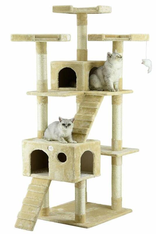 "72"" Cat Tree Condo For Indoor Cat Big Tower Giant Castle  La"