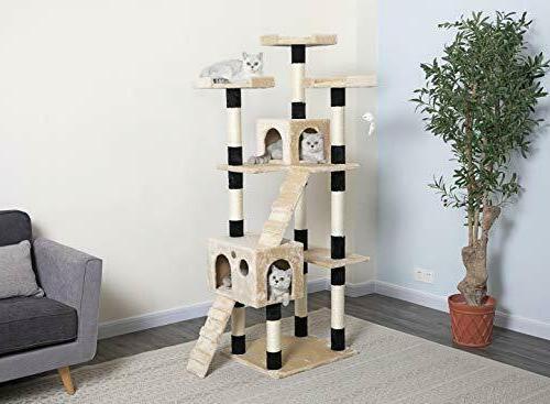 "72"" Inch Kitten House Tree Condo Scratcher Beige"