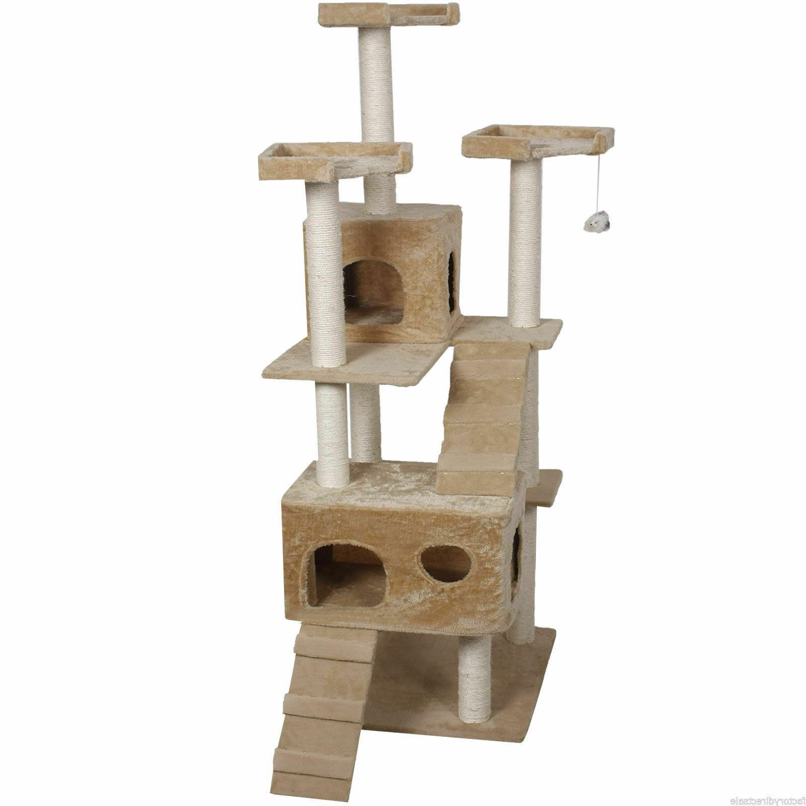 "Tower Furniture Scratch Post Beige 73"" Cat Kitty Tree"
