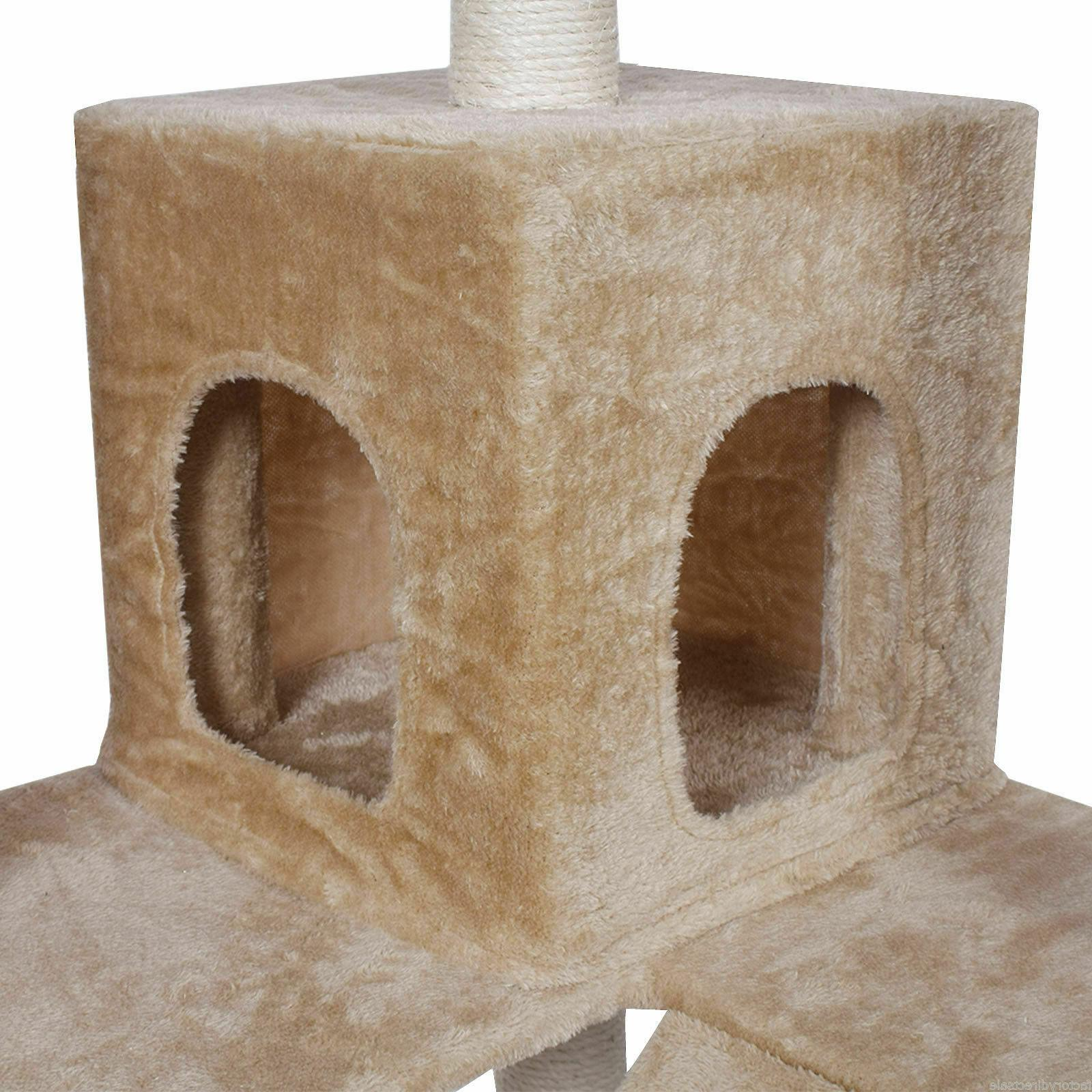 "Tower Furniture Scratch Post Home Beige Goplus 73"" Cat Kitty Tree"