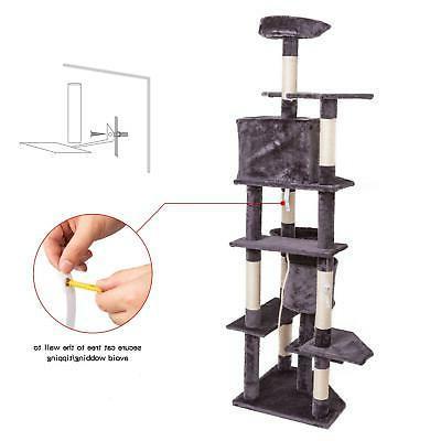 "80"" Cat Tree Condo Furniture Post Kitty Play House"