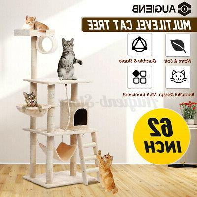 aug 62in cat tree house scratching house