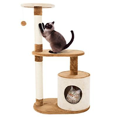 PETMAKER Cat Tree Condo 3 Tier with Condo and Scratching Pos