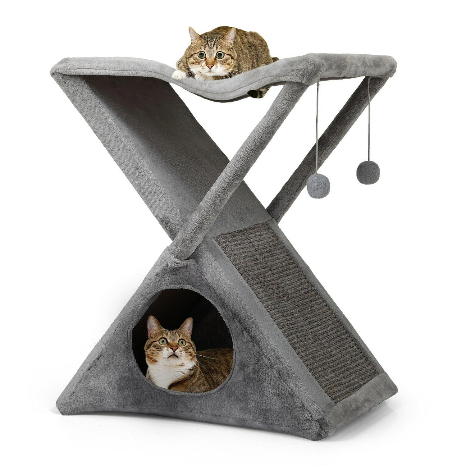 Cat Tree House with Scratching Post Cat Condos and Towers Pe