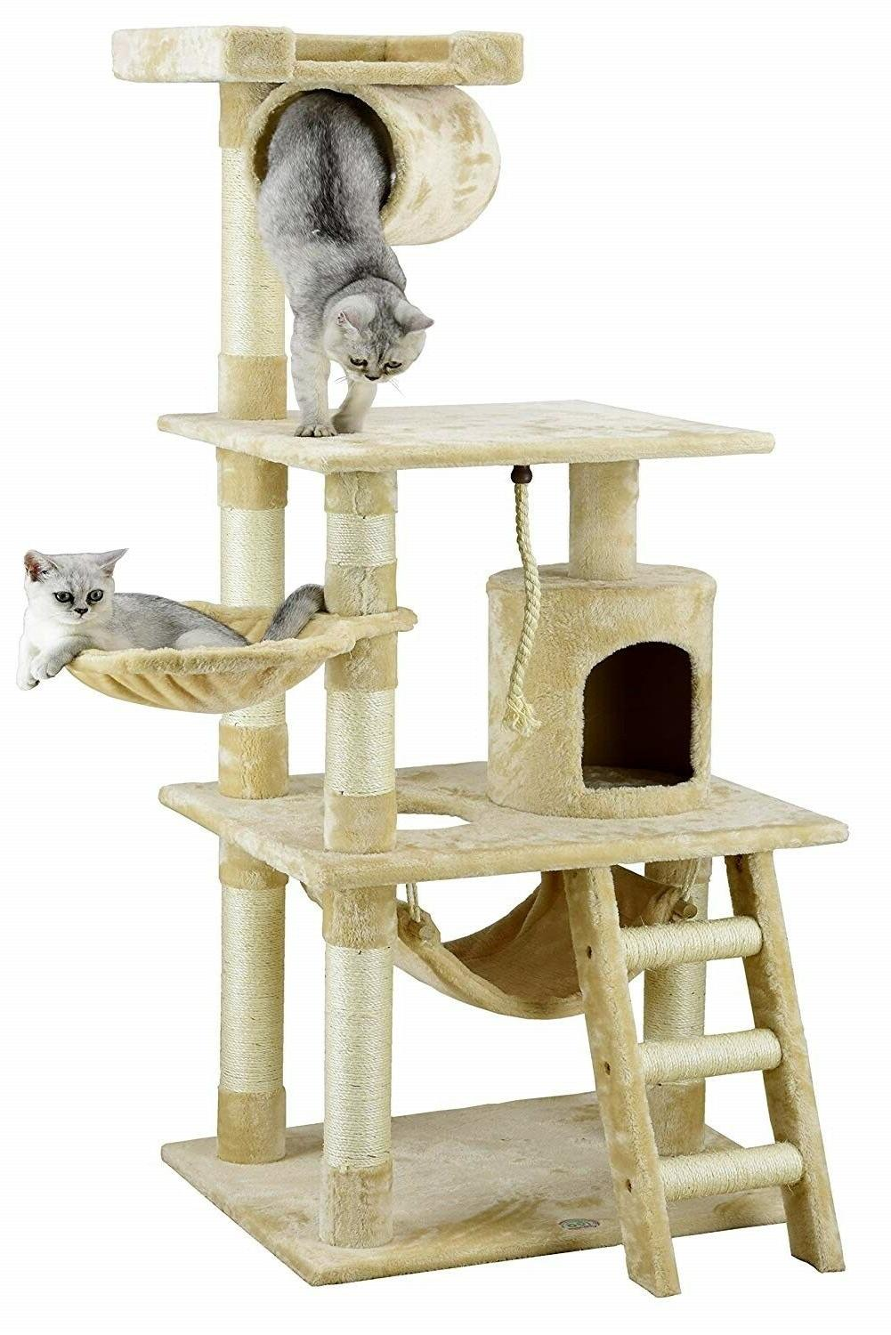 Cat Tree 62in Durable Compressed w/ Sisal Faux Fur Finish