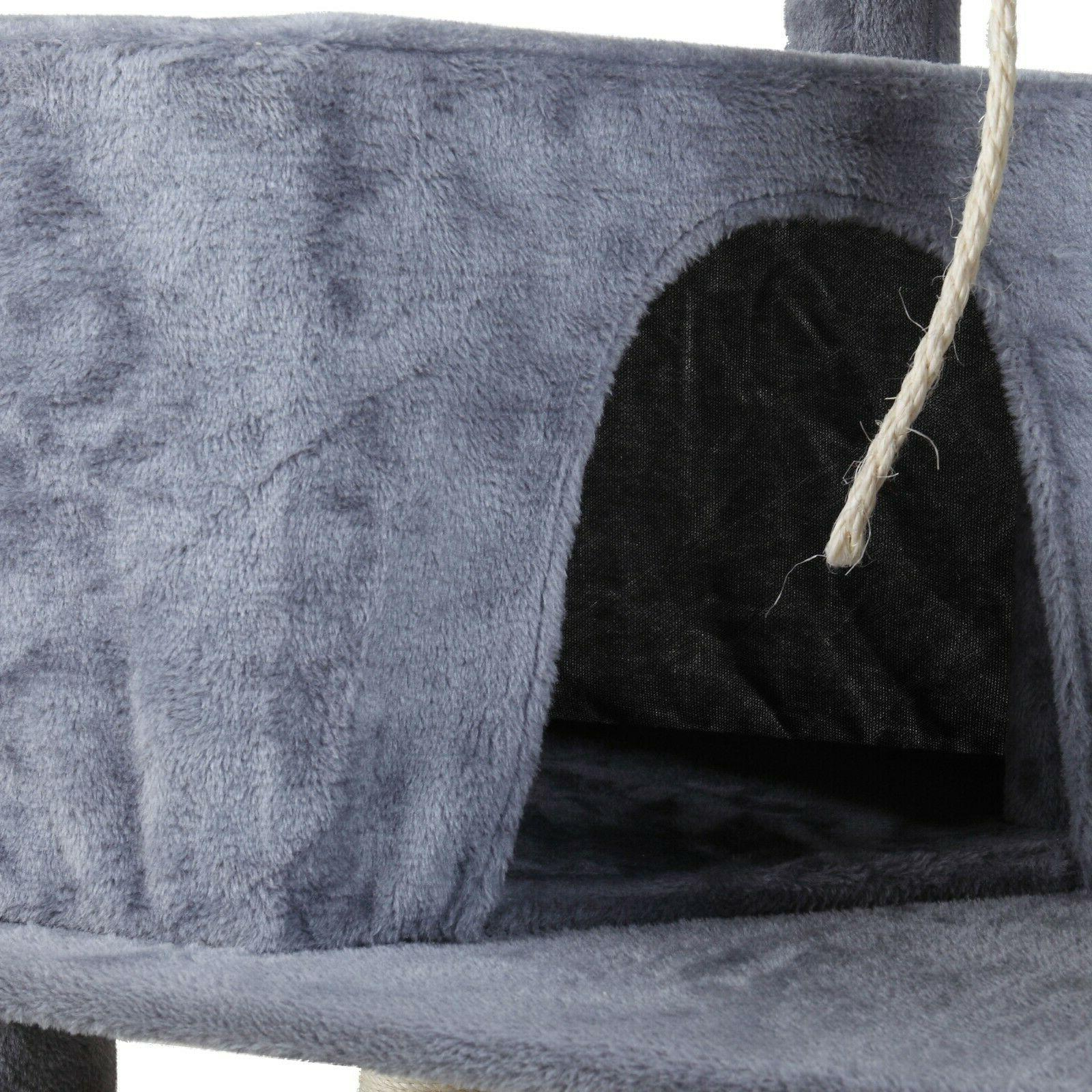 Cat Tower Furniture Scratching Play House Grey