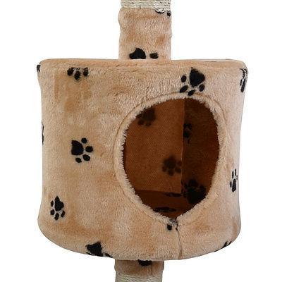 "60"" Condo Scratcher Furniture Pet House Hammock Beige Paw"