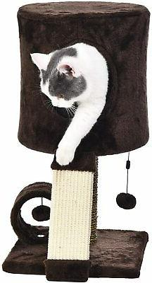 Cat Tree Tower With Perch Condo - 12 x 12 x 20 Inches, Dark
