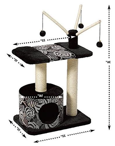MidWest Homes Pets Cat Tree |Carnival Cat Furniture, 3-Tier Tree Support Scratching Posts & Danlge Cat Balls, Pattern,