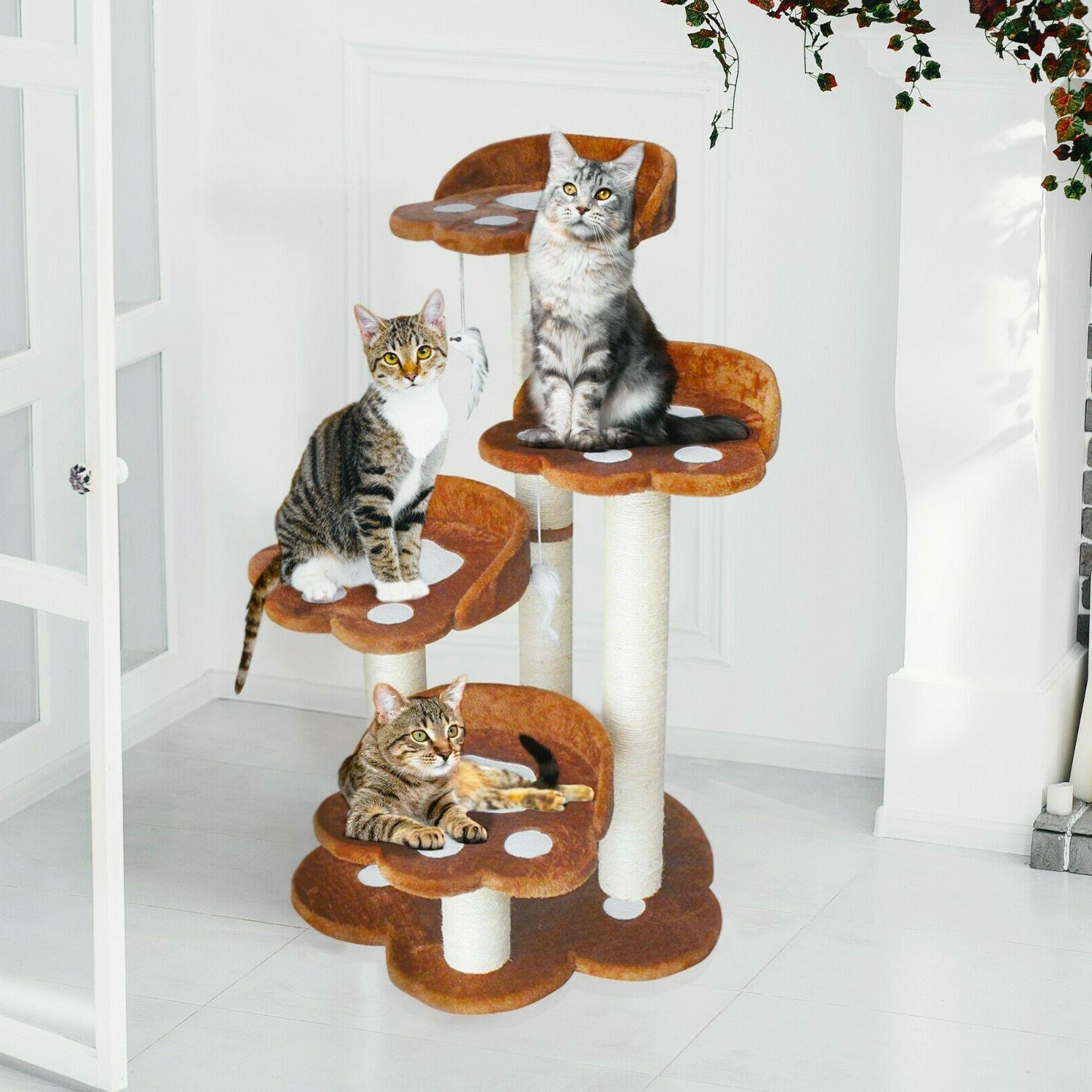 CozyCatFurniture Climbing Cat Tree with 4 Large Beds & Scrat