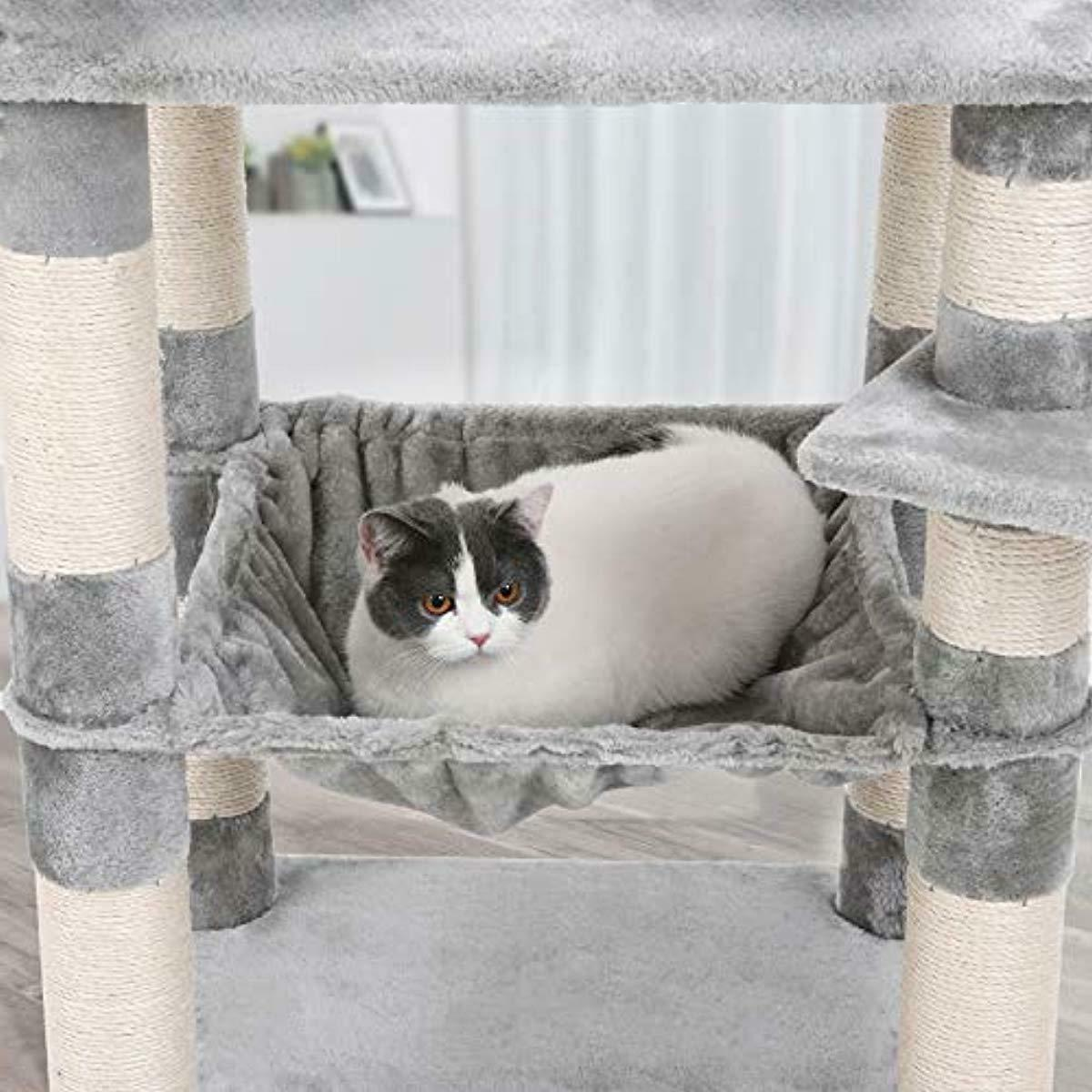 FEANDREA 58 inches Multi-Level Cat with Sisal-Covered Scratching Posts, Plu