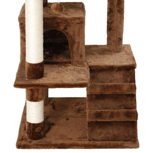"""Large House 53"""" Cat Tree Tower Activity Brown"""