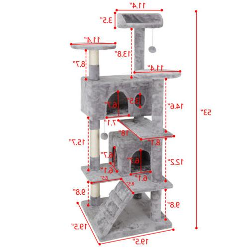 """53"""" Cat Tree Scratching Post Condo Activity Tower Playhouse"""