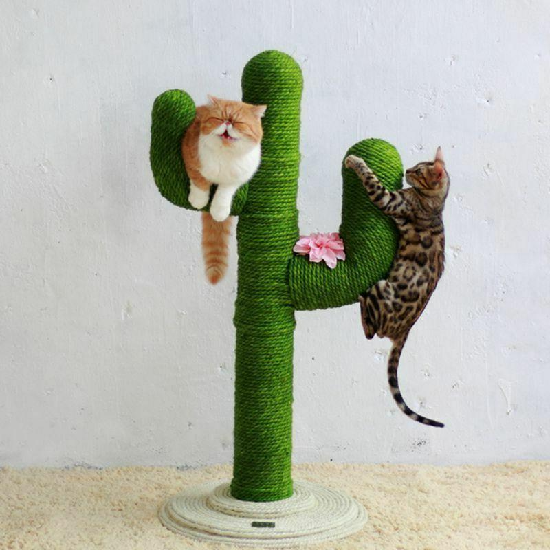 Sisal Rope Cat Tree Feline Scratch Toy Kitty Scratching Towe