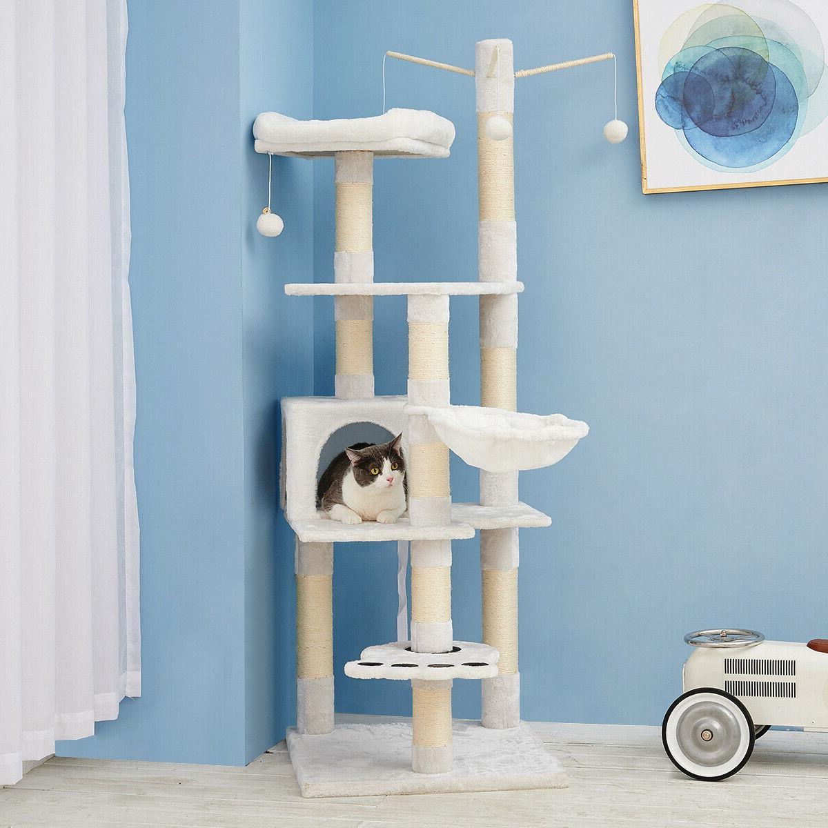 Sisal Post Cat Tree House Condo Tower Play Kitty Climbing