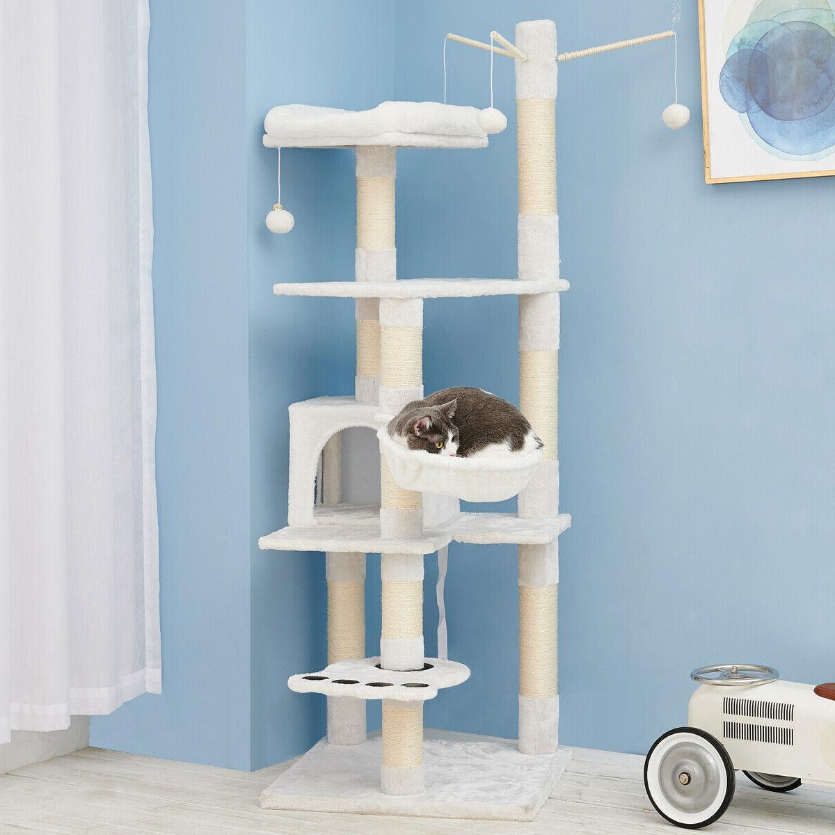 Sisal Cat Tree House Condo Play Kitty Climbing