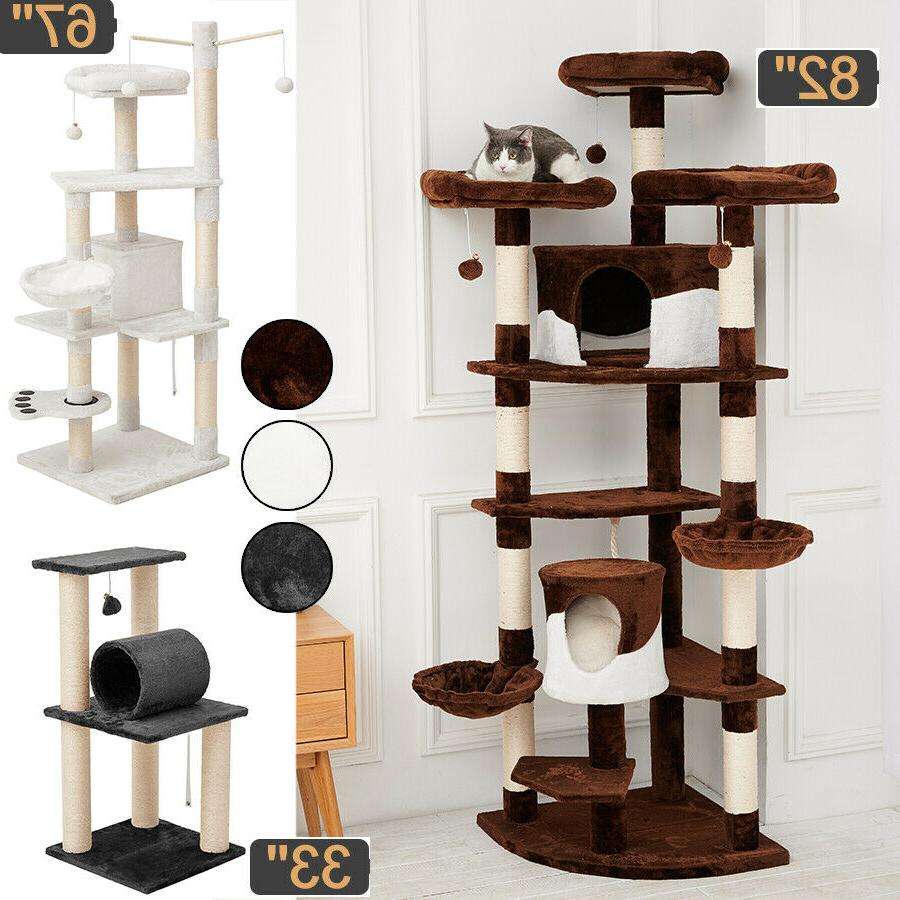 sisal scratching post cat tree house condo