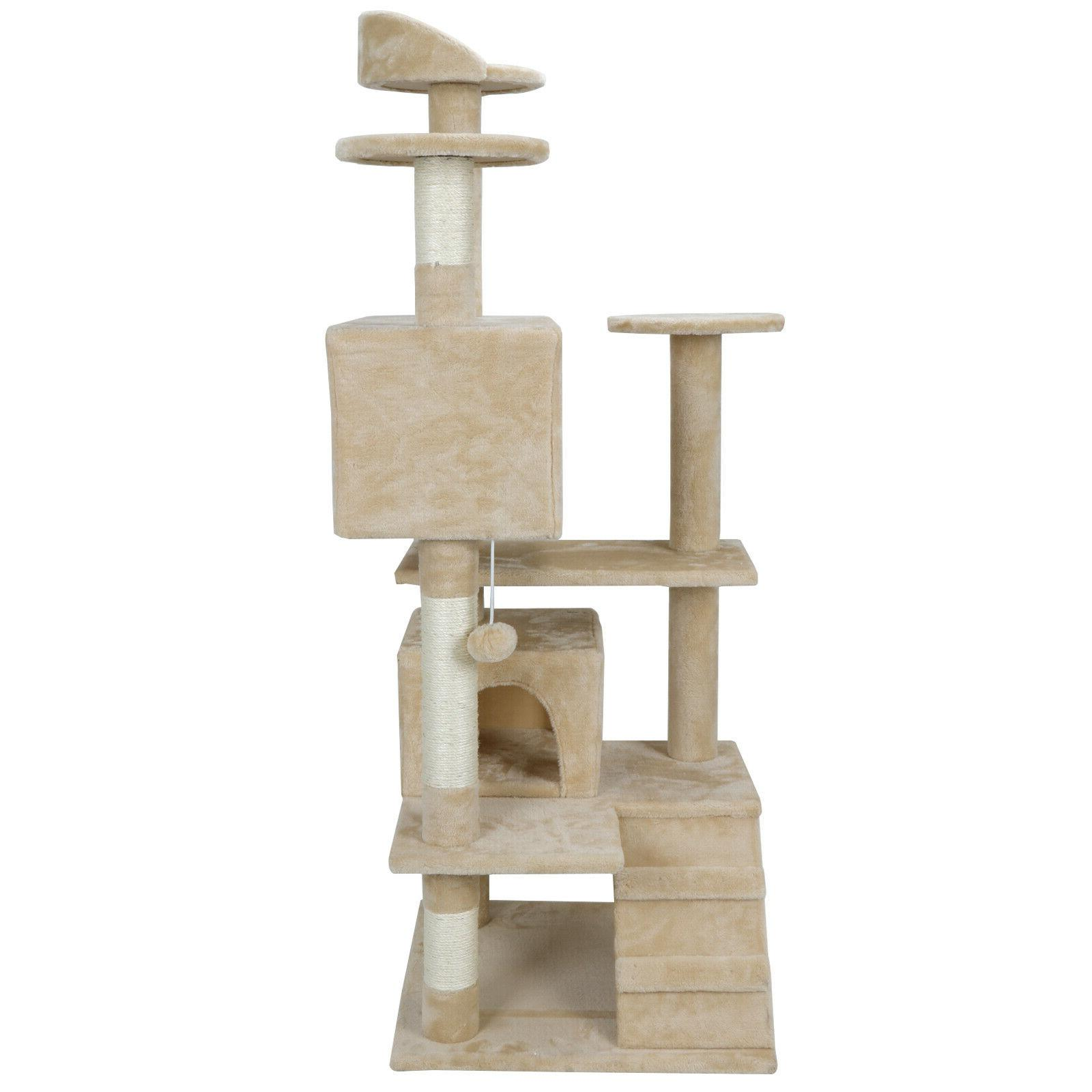 CAT TREE PET HOUSE CAVE WITH SCRACHING POSTS CLIMBING LADDER