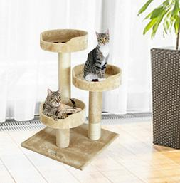 Mini Cat Tree Furniture in Beige Plush with Three Beds and S
