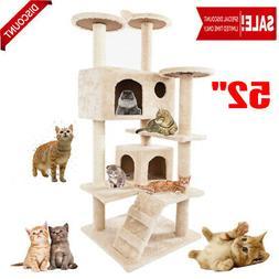 "NEW 52"" Beige Kitten Cat Tree Tower Condo Furniture Scratchi"
