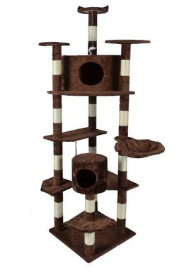 "New Brown 80"" Cat Tree Condo Furniture Scratching Post Pet C"