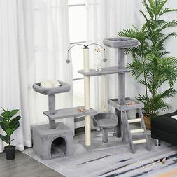 PawHut Multi-Level Plush Cat Tree Tower Activity Condo w/ Si