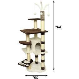 """Premium Cat Tree Tower Condo Scratch Furniture, 64"""", Brown a"""