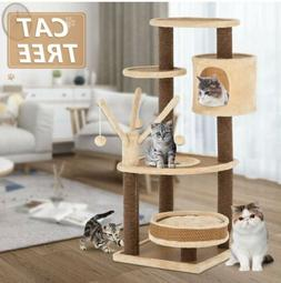 "43"" Rattan Mat Style Cat Tree Scratching Kitty House with Ma"