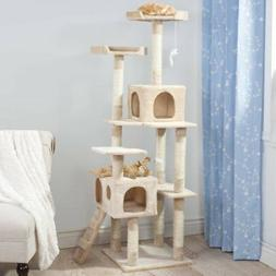 PETMAKER Skyscraper Sleep and Play Cat Tree, 5.5', Beige