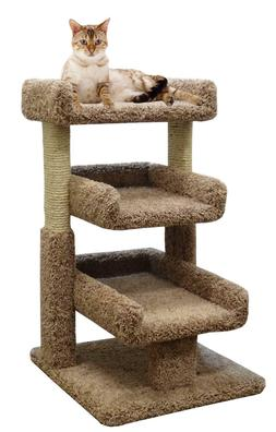 Small Cat Tree 33 inch Cat Furniture 3 Beds & Wooden Sisal P