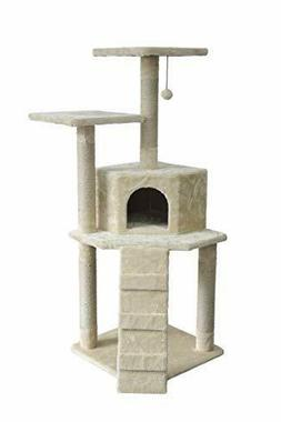Small Cat Tree Tower with Cave And Scratching Post - Beige