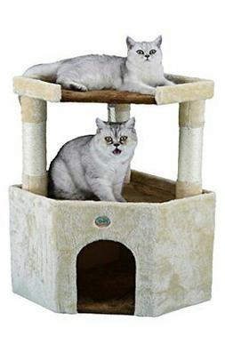 "Go Pet Club Tall Beige & Brown Cat House, 32"", New"