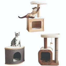 Catry, Wood Cat Tree, Cat Condo with removable cushion for e